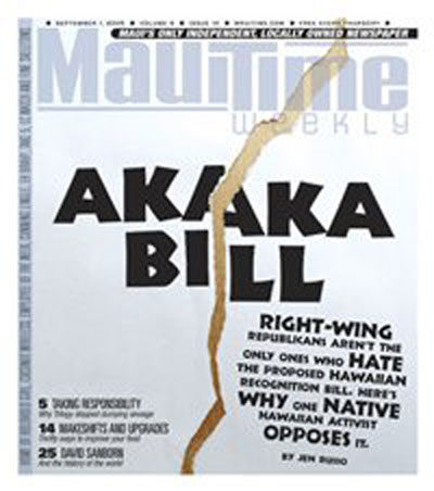 Akaka Bill Article Maui Times Bumpy Interview